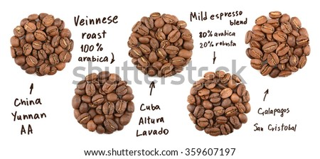 Collection of roasted coffee beans. name coffees - stock photo