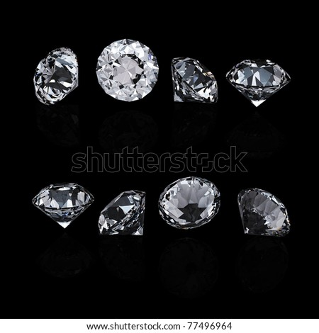 Collection of round diamond  isolated on black background - stock photo