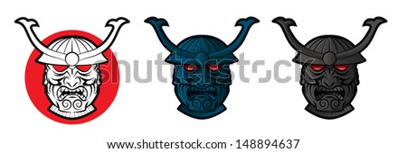 Collection of samurai faces with glowing red eyes - stock photo