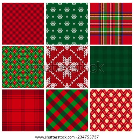 collection of seamless christmas backgrounds - stock photo