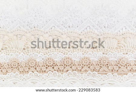 Collection of seamless ornamental floral Lace - stock photo