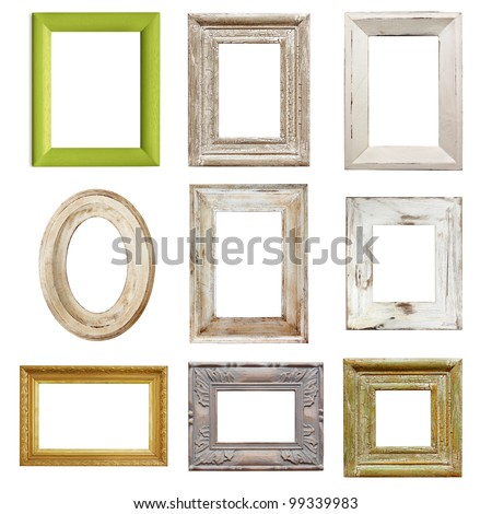 Collection of shabby chic distressed picture frames, isolated. - stock ...
