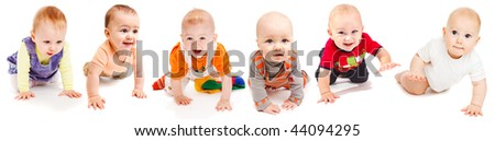 Collection of six lovely babies crawling, isolated - stock photo