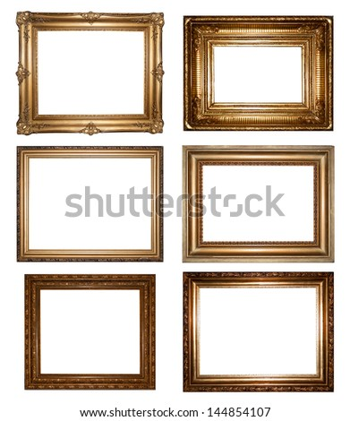 Collection of six rectangular empty gold frames with different surrounds and blank interior copy space for your artwork or photograph isolated on white - stock photo
