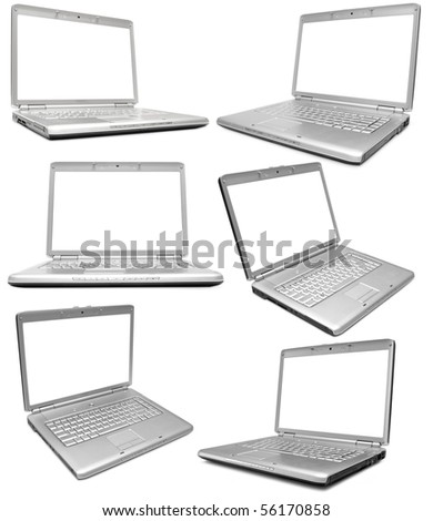 Collection of six silver laptops on white background - stock photo