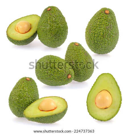 Collection of slice avocado isolated on a white background - stock photo
