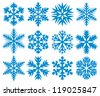 collection of snowflakes (decorative snowflake winter set, white snowflakes) - stock photo