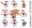 Collection of snowman. Check my portfolio for vector version. - stock photo