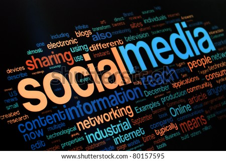Collection of social media and networking related words on the black background - stock photo