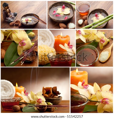 collection of spa concept and aromatherapy - stock photo