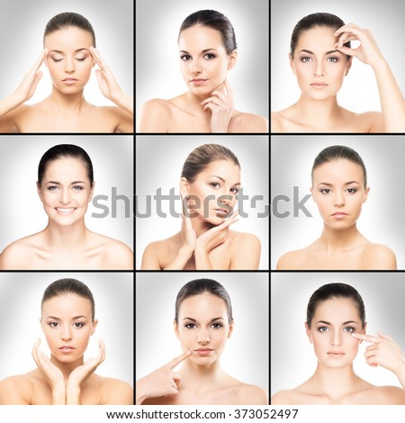 Collection of spa portraits with beautiful, young women over grey background. - stock photo