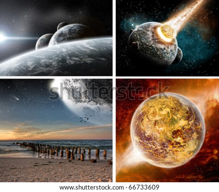 Collection of 4 Space design Wallpaper - stock photo