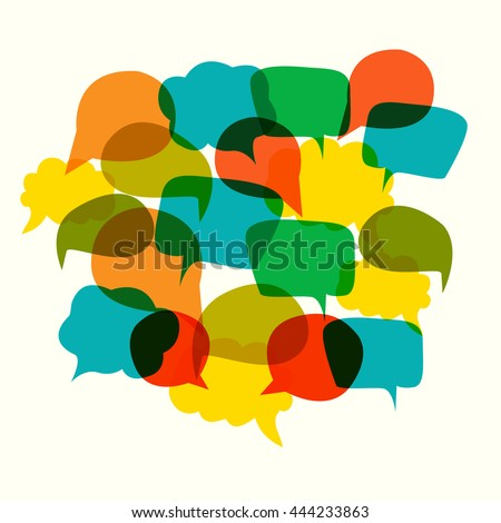 collection of speech bubbles. colorful  cute communication   - stock photo