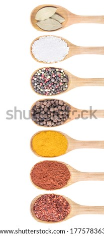 Collection of 7 spices on a wooden spoon. isolated on a white background  - stock photo