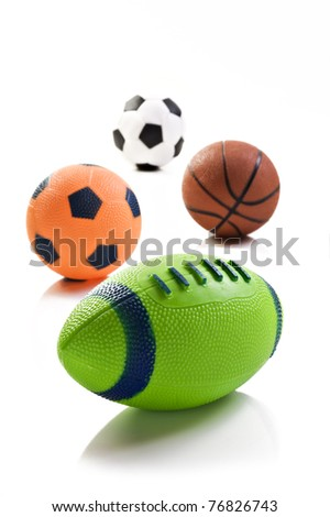 Collection of sport ball with soccer rugby an basket ball - stock photo