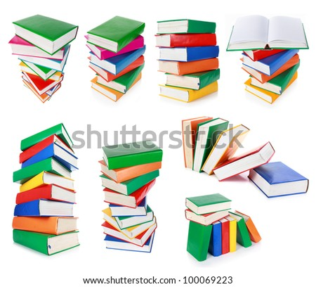 collection of Stack of colorful books isolated over white background - stock photo