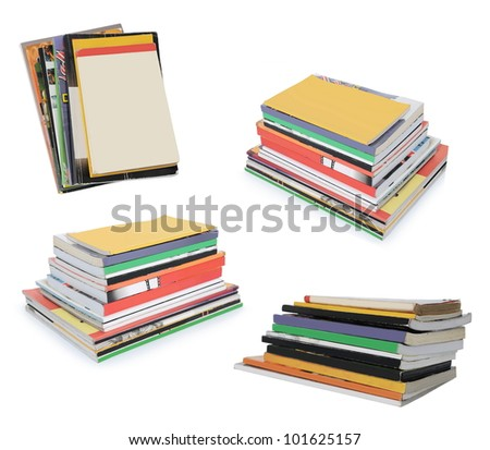 collection of stacks of books and magazines with blank cover isolated on white background - stock photo