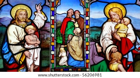 collection of stained glass window from Gloucester Cathedral, England (United Kingdom) - stock photo