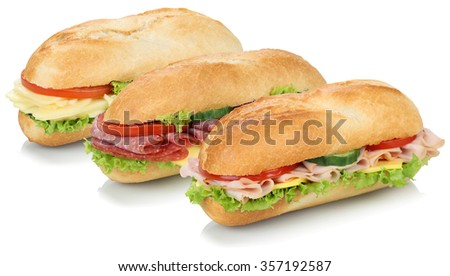 Collection of sub sandwiches baguettes with salami, ham and cheese isolated on a white background - stock photo