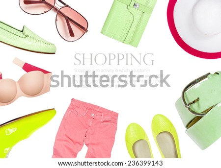 Collection of summer clothes isolated on white background - stock photo