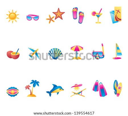 Collection of summer time icons - stock photo