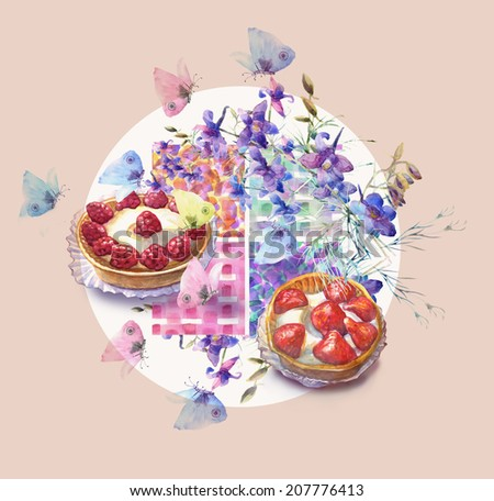 Collection of sweet desserts .Fresh Fruits tartlets ,summer blue flowers and butterfly. Watercolor illustration.  - stock photo