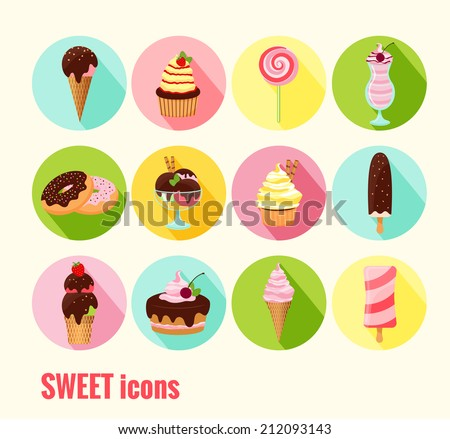 Collection of sweet icons with ice cream  cupcakes  cakes  doughnuts  sundae  milkshake and ice lolly with chocolate  cherry and icing toppings on round colored buttons - stock photo