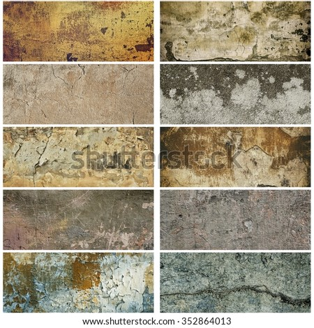 Collection of ten narrow images with vintage grunge texture of old weathered dirty wall - stock photo