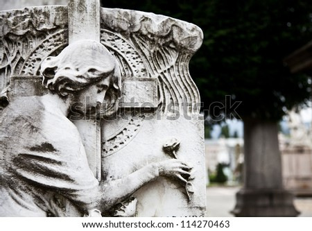 Collection of the most beautiful and moving architectures examples in European cemeteries - stock photo