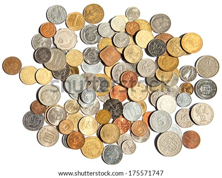 Collection of the old circulated coins - stock photo