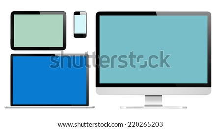 Collection of Three Dimensional Digital Devices - stock photo