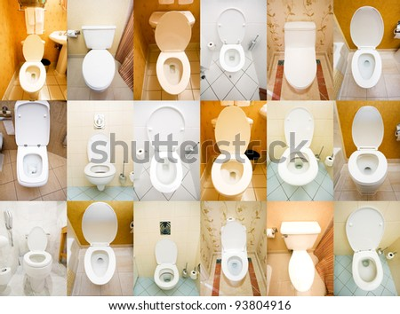 Collection of toilets from various places - stock photo