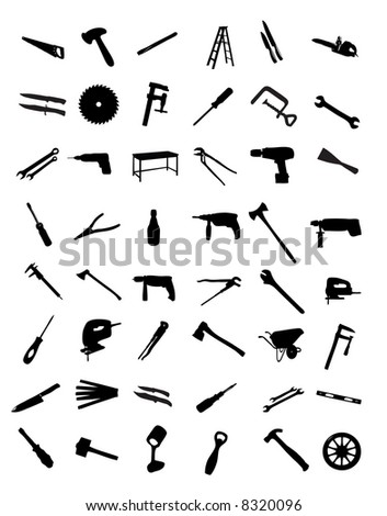 Collection of tools. 53 black and white items isolated on white background. - stock photo