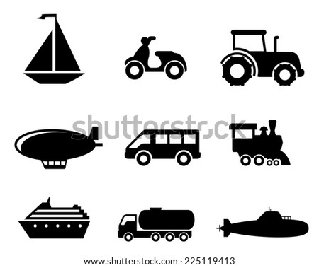 Collection of transport icons depicting a boat, scooter, tractor, blimp, van, train, liner, truck and airplane in black silhouette - stock photo