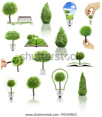 Collection of tree on white background. Big set - stock photo