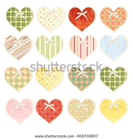 Collection of valentine hearts  in shabby chic style with paper texture, pearl and bow - stock photo