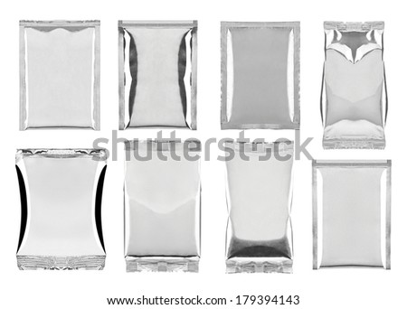 collection of various aluminum bag package on white background. each one is shot separately - stock photo