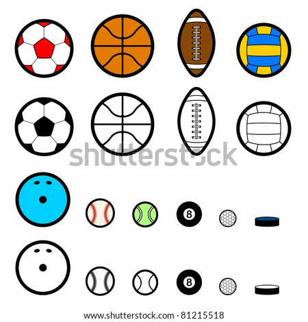 collection of various ball pictograms - stock photo