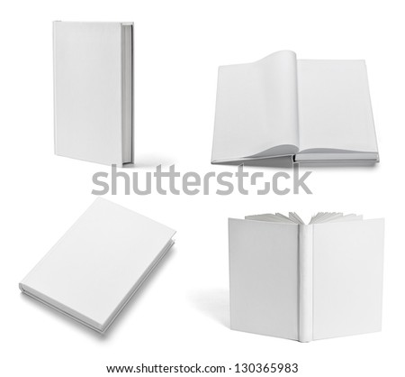 collection of various  blank white  books on white background. each one is shot separately - stock photo