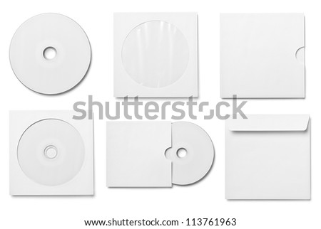 collection of various  blank white dvd and envelope on white background. each one is shot separately - stock photo