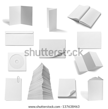collection of various  blank white paper and book on white background. each one is shot separately - stock photo