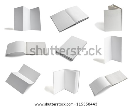collection of various  blank white paper on white background. each one is shot separately - stock photo