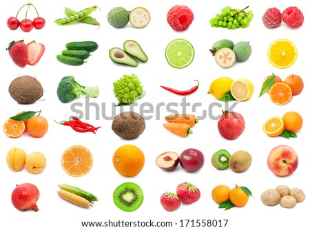 Collection of various fruits and vegetables isolated on white background - stock photo