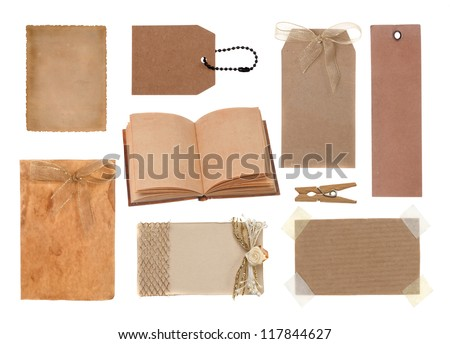 Collection of various grunge paper pieces  and tag  on white background. - stock photo