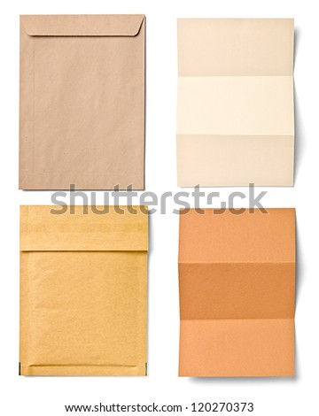 collection of  various grunge papers and envelopes on white background. each one is shot separately - stock photo
