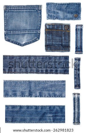 collection of various jeans parts on white background. each one is shot separately - stock photo