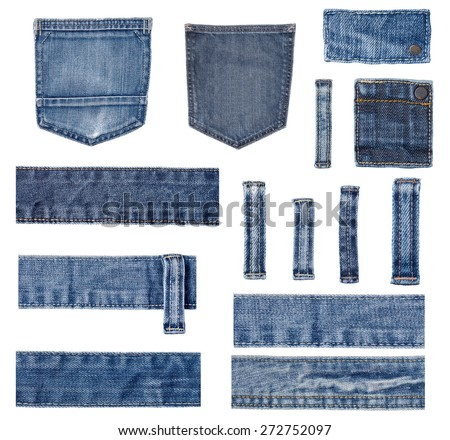 collection of various jeans pieces on white background. each one is shot separately - stock photo