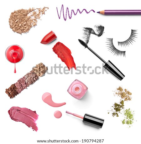 collection of various make up on white background. each one is shot separately - stock photo