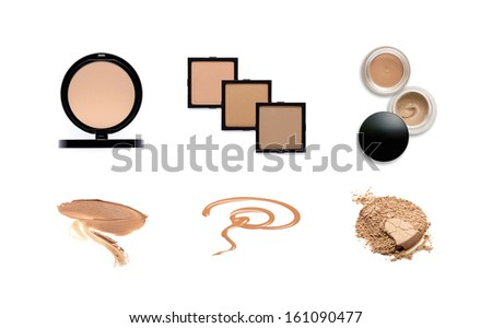 Collection of various make up powder samples on white  - stock photo
