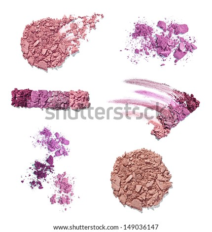 collection of various make up powder samples on white background. each one is shot separately - stock photo